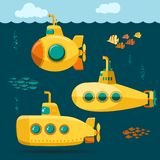 Yellow Submarine undersea with fishes, cartoon style. Vector. Yellow Submarine undersea with fishes, cartoon style, with periscope, bathyscaphe underwater ship stock illustration