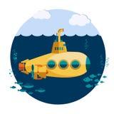 Yellow Submarine undersea Stock Image