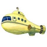 Yellow submarine, , watercolor illustration Royalty Free Stock Photo