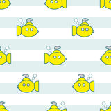 Yellow submarines seamless pattern Stock Photography