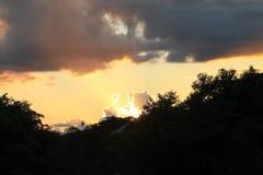 Yellow suburban sunset Royalty Free Stock Photography