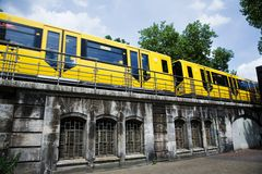Yellow subway. Train in Berlin Royalty Free Stock Photos