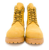 Yellow suede boots Royalty Free Stock Photos