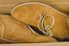 Yellow suede warm shoes. In a box Stock Image