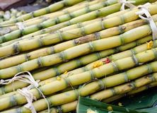 Yellow sugar cane on asian market Stock Photos