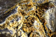 Yellow Sulfur on Rock Royalty Free Stock Images
