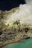 Yellow sulfur mine with blue lake inside volcano, Stock Image