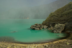 Yellow sulfur mine with blue lake inside volcano,. Ijen Plateau royalty free stock image