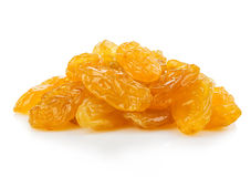 Yellow sultanas raisins close-up isolated on a white background. Royalty Free Stock Images