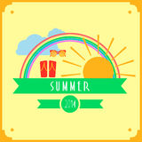 Yellow summer card with sun, rainbow, clouds Royalty Free Stock Photo