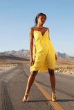 Yellow summer dress. Royalty Free Stock Photos