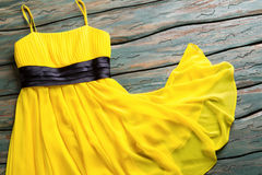 Yellow summer dress. Stock Photos