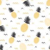 Yellow summer fruits backround Vector summer seamless pineapple pattern Ananas print. Summer fruits backround Vector summer seamless pineapple pattern Ananas stock illustration