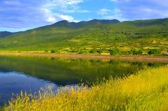 Yellow summer grass mountain lake Stock Images