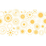 Yellow summer horizontal border with sun icons. Royalty Free Stock Photography