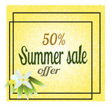 Yellow summer sale background for print, web design and banners. Realistic vector texture. Yellow sale background for banner, web Royalty Free Stock Photos