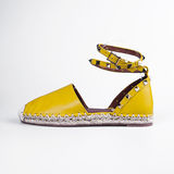 Yellow summer shoes Stock Photo