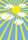 Yellow summer sun. Blue sky. Rays of  Sun through white clouds. Stock Image