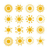Yellow summer sun vector symbols Royalty Free Stock Photography