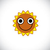 Yellow sun art illustration made with a smiling face. Vector meteorology sun Stock Photo