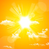 Yellow sun and cloud Stock Photo