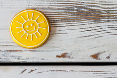Yellow sun cookie. Royalty Free Stock Photography