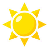 Yellow Sun Flat Icon Isolated on White royalty free illustration