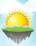 Yellow sun on flying island concept in sky vector Stock Photos