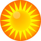 Yellow sun glossy icon Stock Photo