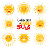 Yellow sun with happy smile collection Royalty Free Stock Images
