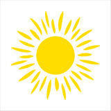 Yellow sun icon isolated on white background. Flat sunlight, sign. Vector summer symbol for website design, web Royalty Free Stock Photo