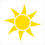 Yellow sun icon isolated on white background. Flat sunlight, sign. Vector summer symbol for website design, web Royalty Free Stock Photography