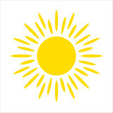 Yellow sun icon isolated on white background. Flat sunlight, sign. Vector summer symbol for website design, web Stock Photo