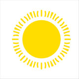 Yellow sun icon isolated on white background. Flat sunlight, sign. Vector summer symbol for website design, web. Yellow sun icon isolated on white background Royalty Free Stock Photo