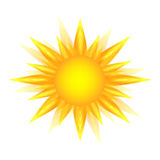 Yellow sun icon isolated on white background, sunlight, sign, summer symbol for website design, web button, mobile app. Royalty Free Stock Photography
