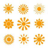 Yellow sun icon set isolated on white background. Modern simple flat sunlight, sign. Trendy  summer symbol for website desig. N, mobile app. Stock illustration Royalty Free Stock Photos