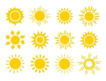 Free Yellow Sun Icon Set. Orange Summer Spring Sunshine Rays. Weather Bright Sunlight Sing. Vector Sunrise Logo Royalty Free Stock Image - 178885216