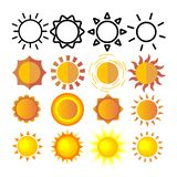 Yellow Sun Icon Set Vector. Sunset Sign. Sunrise Light. Summer Heat. Orange Ray. Season Object. Shiny Climate Graphic stock illustration