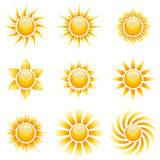 Yellow sun icons. Isolated on white background Royalty Free Stock Photo