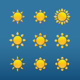 Yellow sun  icons isolated on blue background Royalty Free Stock Photography