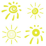 Yellow Sun Icons Stock Images