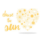 Yellow sun icons made shape if heart. Positive life quote. Stock Photography