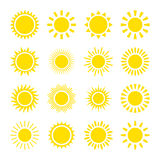Yellow sun icons. Set of yellow icons of the sun, isolated on white background Stock Illustration