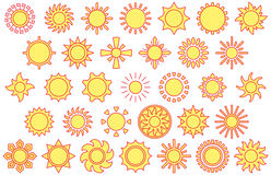 Yellow sun icons. A set of yellow sun vector icons with red outlines Royalty Free Stock Photo