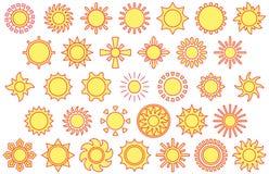 Yellow sun icons Royalty Free Stock Photo