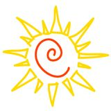 Yellow sun isolated on white, vector icon Stock Image