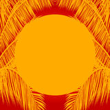 Yellow sun and palm trees mask on red background Royalty Free Stock Images