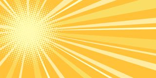 Yellow sun pop art background Stock Illustration