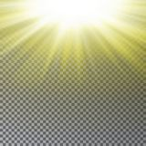 Yellow sun ray light effect isolated on transparent background. Realistic sun ray light effect. Sta. Rburst vector illustration stock illustration