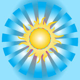 The yellow sun rays in the blue sky Stock Photography